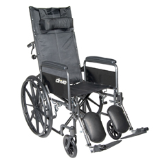 SSP20RBDFA - Drive Medical - Silver Sport Reclining Wheelchair with Elevating Leg Rests, Detachable Full Arms, 20 Seat