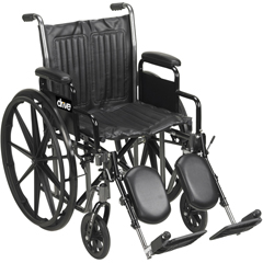 SSP216DFA-SF - Drive MedicalSilver Sport 2 Wheelchair with Detachable Full Arms and Swing Away Footrest