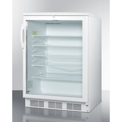 SMASCR600LBI - Summit ApplianceAccucold Medical® Commercially Listed Built-In Undercounter Glass Door All-Refrigerator with White Cabinet and Front Lock