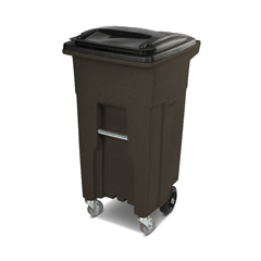 TOTACC32-54157 - Toter - 32 Gal. Brownstone Trash Can with Wheels and Lid (2 caster wheels 2 stationary wheels)