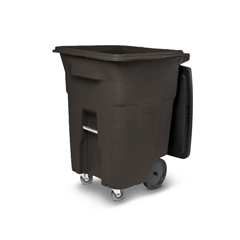 TOTACC96-11293 - Toter - 96 Gal. Brownstone Trash Can with Wheels and Lid (2 caster wheels 2 stationary wheels)