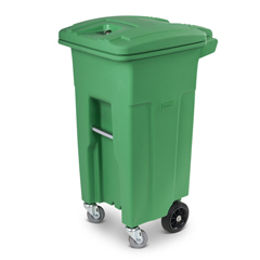 TOTACG32-00LIM - Toter - 32 Gal. Lime Green Organics Trash Can with Wheels and Lid (2 caster wheels 2 stationary wheels)