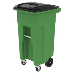 TOTACO32-10000 - Toter - 32 Gal. Lime Green Organics Trash Can with Wheels and Black Lid (2 caster wheels 2 stationary wheels)
