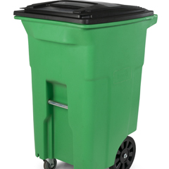 TOTACO64-59625 - Toter - 64 Gal. Lime Green Organics Trash Can with Wheels and Black Lid (2 caster wheels 2 stationary wheels)