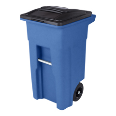 TOTANA32-00BLU - Toter - 32 Gal. Blue Trash Can with Quiet Wheels and Attached Black Lid