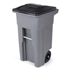 TOTANA32-00GST - Toter - 32 Gal. Graystone Trash Can with Quiet Wheels and Attached Black Lid
