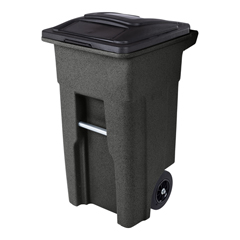 TOTANA32-10767 - Toter - 32 Gal. Blackstone Trash Can with Quiet Wheels and Attached Black Lid