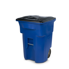 TOTANA96-00BLU - Toter - 96 Gal. Blue Trash Can with Smooth Wheels and Lid