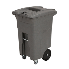 TOTCDC64-10071 - Toter - 64 Gal. Graystone Document Trash Can with Wheels and Hasp Lock (2 Standard Casters, 2 Stationary Wheels)