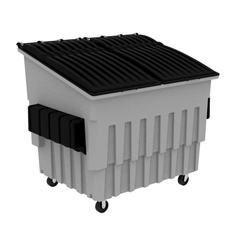 TOTFL040-10082 - Toter - 4 Cubic Yard 2000 lbs. Capacity Front Load Container (2 Standard Casters and 2 Swivel Casters) - Dark Cool Gray