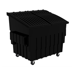 TOTFL040-10707 - Toter - 4 Cubic Yard 2000 lbs. Capacity Front Load Container (2 Standard Casters and 2 Swivel Casters) - Black
