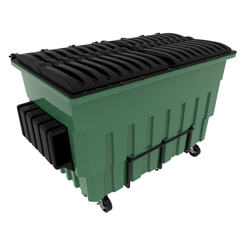 TOTFL52C-20001 - Toter - 2 Cubic Yard 2000 lbs. Capacity Front Load Organic Container w/ 4 Swivel Casters (2 Braking) - Waste Green