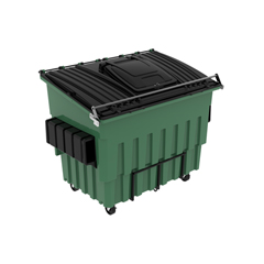 TOTFL53C-11358 - Toter - 3 Cubic Yard 3000 lbs. Capacity Front Load Organic Container w/ 4 Swivel Casters (2 Braking) - Waste Green