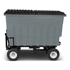 TOTFLA20-10228 - Toter - 2 Cubic Yard 1000 lbs. Capacity Rapid Speed Towable Mobile Truck with Attached Black Lid - Industrial Gray