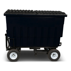 TOTFLA20-10229 - Toter - 2 Cubic Yard 1000 lbs. Capacity Rapid Speed Towable Mobile Truck with Attached Black Lid - Black