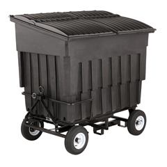 TOTFLA30-00BLK - Toter - 3 Cubic Yard 1500 lbs. Capacity Rapid Speed Towable Mobile Truck with Attached Black Lid - Black