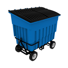 TOTFLA30-00BLU - Toter - 3 Cubic Yard 1500 lbs. Capacity Rapid Speed Towable Mobile Truck with Attached Blue Lid - Blue