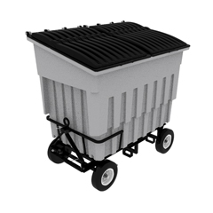 TOTFLA30-00IGY - Toter - 3 Cubic Yard 1500 lbs. Capacity Rapid Speed Towable Mobile Truck with Attached Black Lid - Industrial Gray