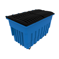 TOTFLM20-00BLU - Toter - 2 Cubic Yard 1000 lbs. Capacity Mobile Truck with Attached Duel Black Lids - Blue
