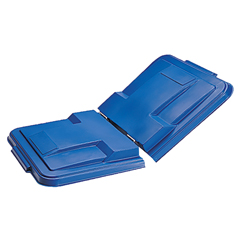TOTLMS10-00BLU - Toter - 1 Cubic Yard Removable Split Lid hinges in center for Universal or Towable Mobile Trucks - Blue