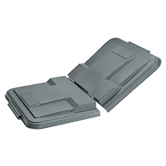 TOTLMS10-00IGY - Toter - 1 Cubic Yard Removable Split Lid hinges in center for Universal or Towable Mobile Trucks - Industrial Gray