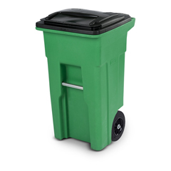 TOTONA32-58235 - Toter - 32 Gal. Lime Green Organics Trash Can with Two Wheels and Black Lid