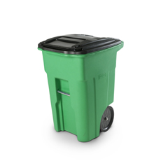 TOTONA48-10460 - Toter - 48 Gal. Lime Green Organics Trash Can with Two Wheels and Black Lid