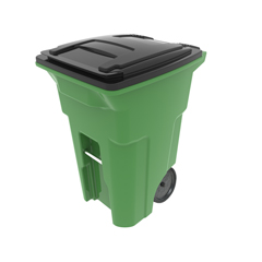TOTONA64-63009 - Toter - 64 Gal. Lime Green Organics Trash Can with Two Wheels and Black Lid