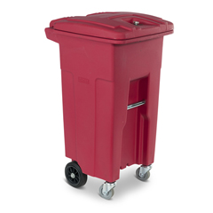 TOTRMC32-00RED - Toter - 32 Gal. Red Hazardous Waste Trash Can with Wheels and Lid Lock (2 Caster Wheels 2 Stationary Wheels)