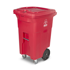 TOTRMC64-00RED - Toter - 64 Gal. Red Hazardous Waste Trash Can with Wheels and Lid Lock (2 Caster Wheels 2 Stationary Wheels)