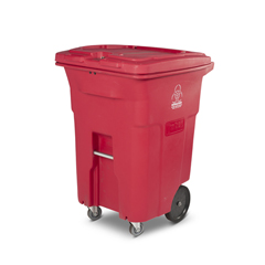 TOTRMC96-00RED - Toter - 96 Gal. Red Hazardous Waste Trash Can with Wheels and Lid Lock (2 Caster Wheels 2 Stationary Wheels)