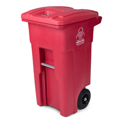 TOTRMN32-00RED - Toter - 32 Gal. Red Hazardous Waste Trash Can with Wheels and Lid Lock