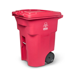 TOTRMN96-00RED - Toter - 96 Gal. Red Hazardous Waste Trash Can with Wheels and Lid Lock
