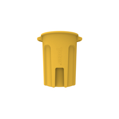 TOTRND44-B0390 - Toter - 44 Gal. Round Trash Can with Lift Handle - Yellow