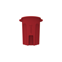 TOTRND44-B0570 - Toter - 44 Gal. Round Trash Can with Lift Handle - Red