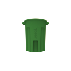 TOTRND44-B0780 - Toter - 44 Gal. Round Trash Can with Lift Handle - Bright Lime Green
