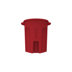 TOTRND55-B0570 - Toter - 55 Gal. Round Trash Can with Lift Handle - Red