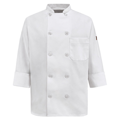 UNF0401WH-RG-M - Chef DesignsWomens 10 Pearl Button Chef Coat