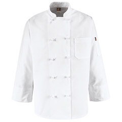 UNF0421WH-RG-L - Chef DesignsMens 10 Knot Button Chef Coat