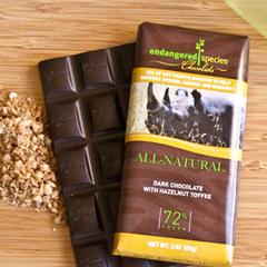 BFG30521 - Endangered SpeciesBlack Rhino Bar All-Natural Dark Chocolate with Hazelnut Toffee