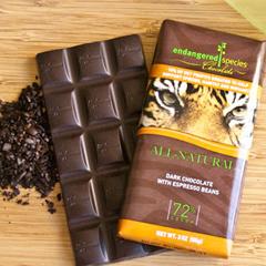 BFG30525 - Endangered SpeciesTiger Bar All-Natural Dark Chocolate with Espresso Beans