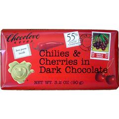 BFG33113 - ChocoloveDark Chocolate Chilies & Cherries (55% Cacao)
