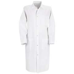 UNF4004WH-RG-S - Red KapMens Gripper-Front Butcher Frock