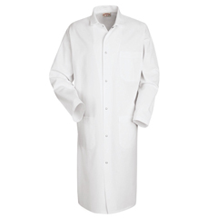 UNF4016WH-RG-M - Red KapMens Gripper-Front Butcher Frock