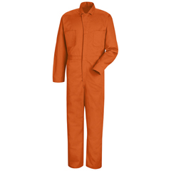 UNFCC14OR-LN-48 - Red KapMens Snap-Front Cotton Coverall