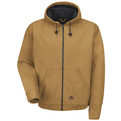UNFJD20BD-RG-M - Red KapMens Blended Duck Zip-Front Hooded Jacket