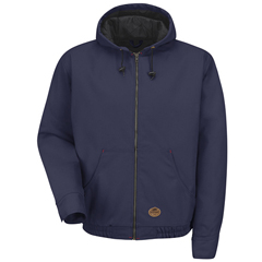 UNFJD20ND-RG-L - Red KapMens Blended Duck Zip-Front Hooded Jacket