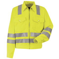 UNFJY32AB-LN-42 - Red KapMens Hi-Vis Ike Jacket - Class 3 Level 2