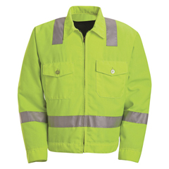 UNFJY32HV-LN-48 - Red KapMens Hi-Vis Ike Jacket - Class 2 Level 2