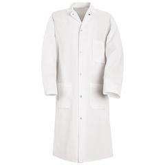 UNFKS62WH-RG-M - Red KapMens Gripper-Front Spun Polyester Butcher Coat